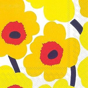 Boston International C552671 Ihr Marimekko Floral Beverage Paper Napkins, 5