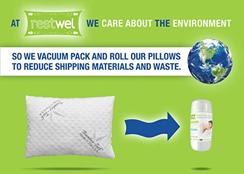 Restwel Bamboo Pillow Memory Foam, Sleep Better, Relief For Neck Pain Or Migraine Headaches! Sleep Aid Stay Cool Hypoallergenic Pillow. Stay Asleep Wake Up Rested, Made In USA (Standard)