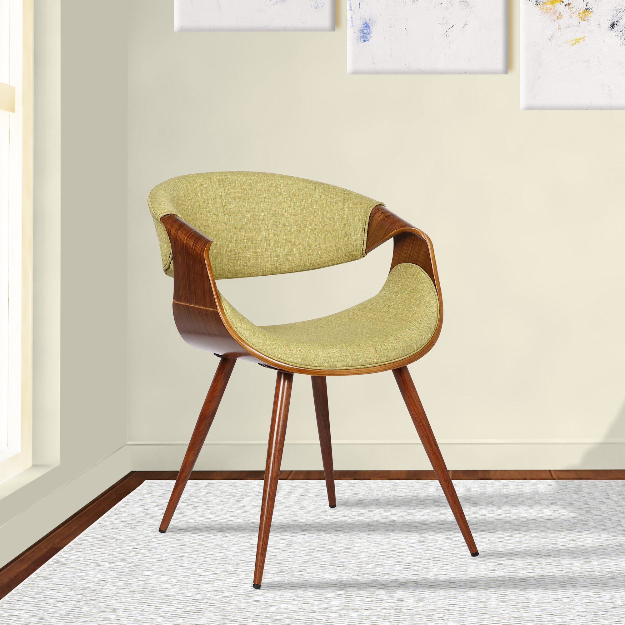 Armen Living LCBUCHWAGR Butterfly Dining Chair in Green Fabric and Walnut Wood Finish