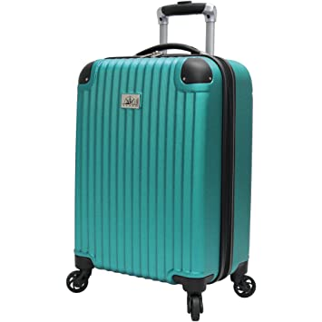 Verdi Luggage Carry On 20 Inch ABS Hard Case Rolling Suitcase With Spinner Wheels Aqua