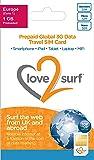 SIM internationale 3G données Voyage Triple SIM • 114 pays - Europe (La Zone 1) - 1GB