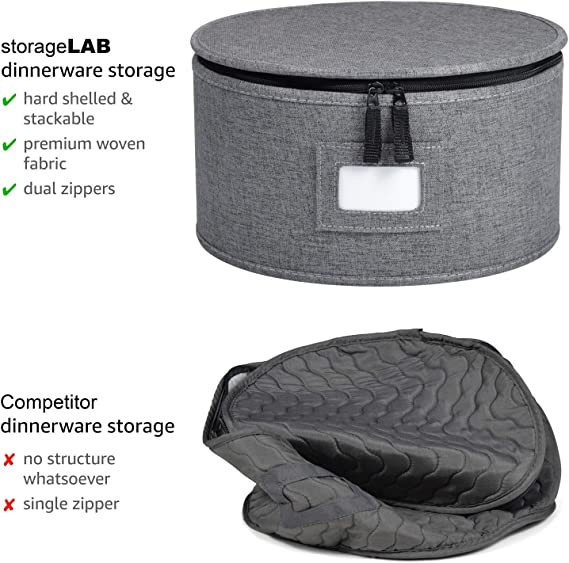 Protects Dishes Cups and Wine Glasses for Dinnerware Storage and Transport Felt Plate Dividers Included Grey - Stemware Storage Included Hard Shell and Stackable China Storage Set