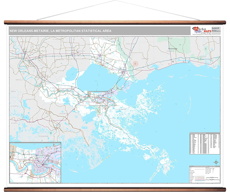 Amazon.com: MarketMAPS New Orleans-Metairie, LA Metro Area Wall Map on greater orlando area zip code map, detroit area zip code map, new orleans zip codes list, uptown new orleans louisiana map, new orleans greater area map, southern new jersey zip code map, new orleans zip code directory, salt lake city area zip code map, new orleans area parishes, ohio area zip code map, san francisco bay area zip code map, zip codes by area map, topeka area zip code map, new orleans neighborhood boundaries, new orleans french quarter street map, new orleans louisiana zip codes, new orleans by zip code, lansing area zip code map, tampa area zip code map, boston area zip code map,