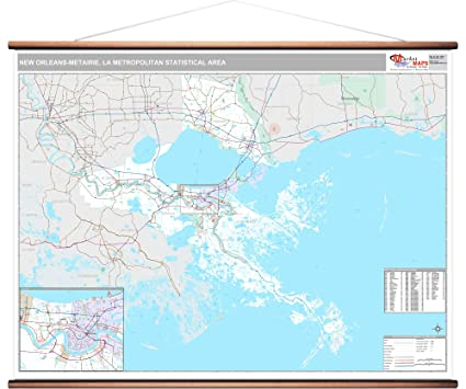 Zip Codes New Orleans Map.Amazon Com Marketmaps New Orleans Metairie La Metro Area Wall Map