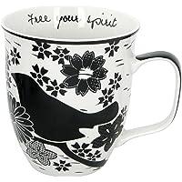Karma Gifts Boho - Taza, diseño de calavera de azúcar, color blanco y negro