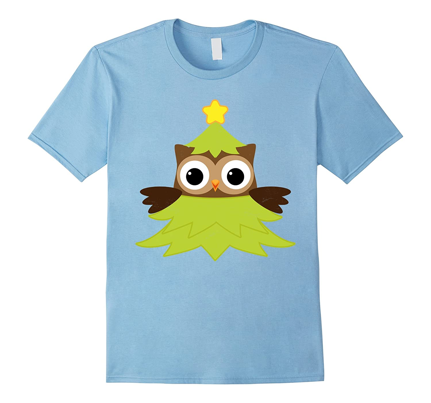 Cute Tree Owl - Merry Christmas Santa T-Shirt Tee-FL