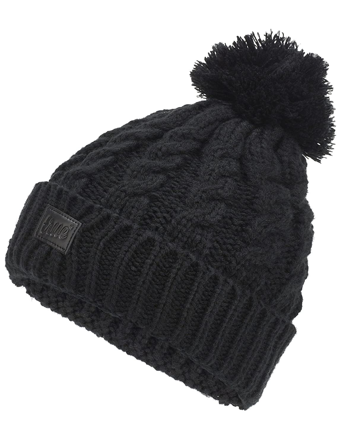 b8cbe243e2b TRUE VISION Womens Beanie Hat - Chunky Cable Knitted Bobble Hat 2 x  Detachable Pom Poms (Faux Fur   Wool) Warm Soft   Comfortable Acrylic One  Size Fit ...