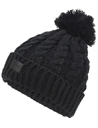TRUE VISION Womens Beanie Hat - Black Chunky Cable Knitted Bobble Hat 2 x  Detachable Pom 25b04132d8f