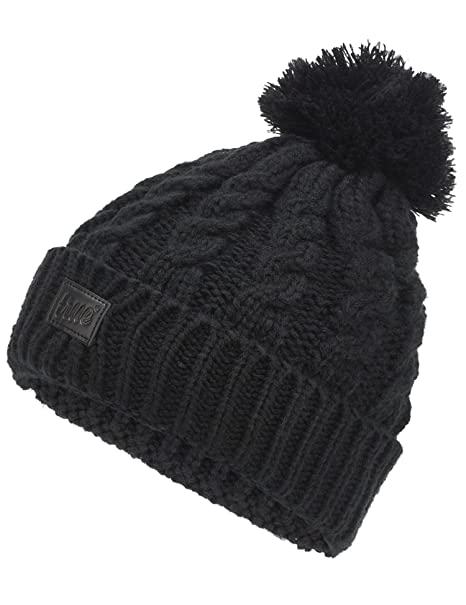 081148fe89b TRUE VISION Womens Beanie Hat - Black Chunky Cable Knitted Bobble Hat 2 x  Detachable Pom Poms ...