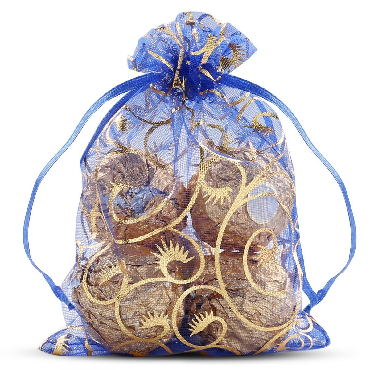 Wuligirl 100pcs 4x6 Drawstring Organza Jewelry Candy Pouches Wedding Party Favor Gift Bags iPhone 8 Plus/7 Plus/6 Plus Bags for Women Men Girls (Blue Eyelash)