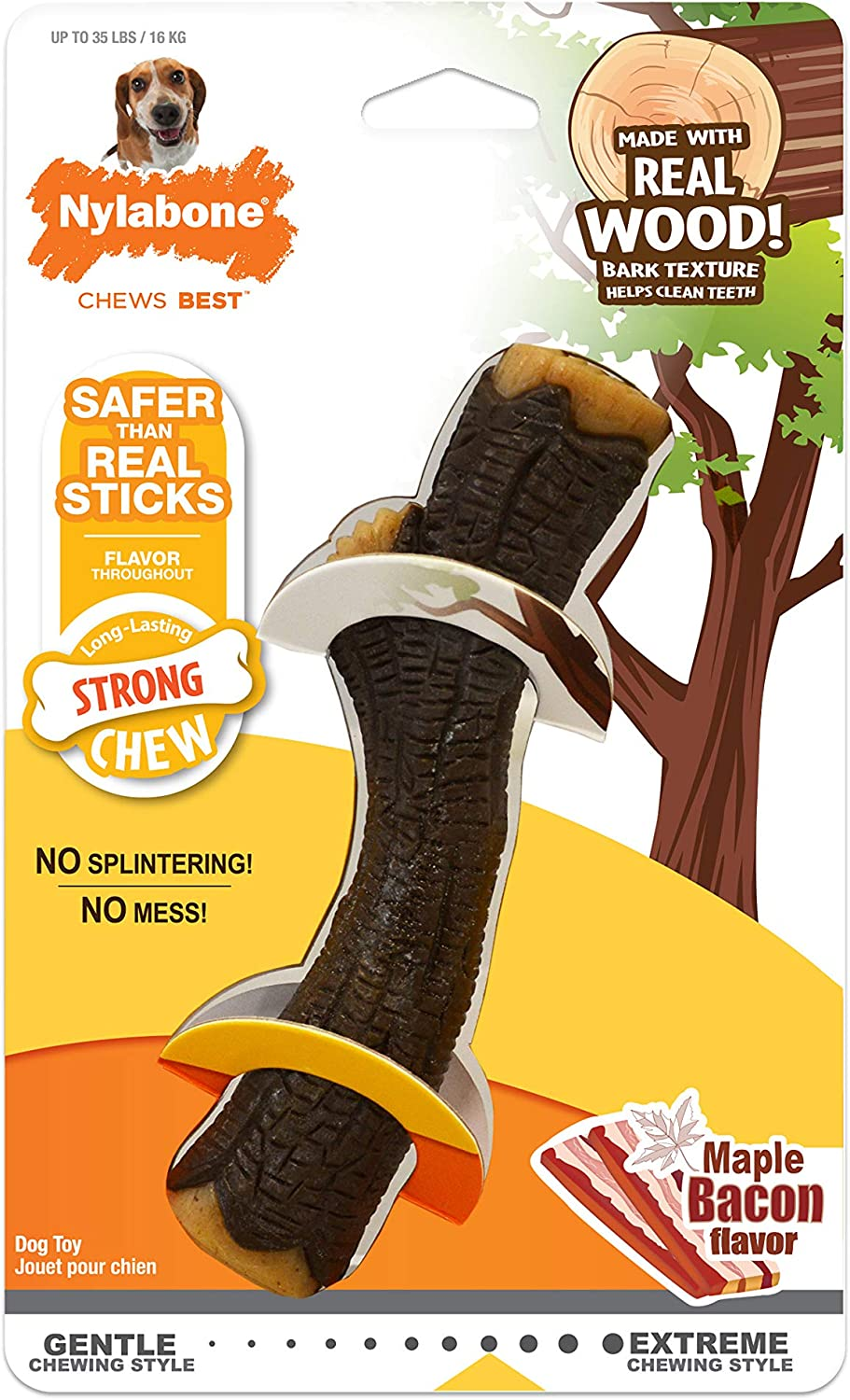 Nylabone Real Wood Stick Strong Dog Stick Chew Toy Maple Bacon Flavor Medium/Wolf - Up to 35 lbs.