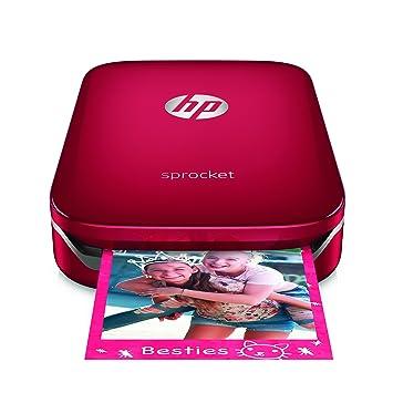 HP Sprocket - Impresora fotográfica portátil (impresión sin tinta, Bluetooth, 5 x 7.6 cm impresiones) color rojo