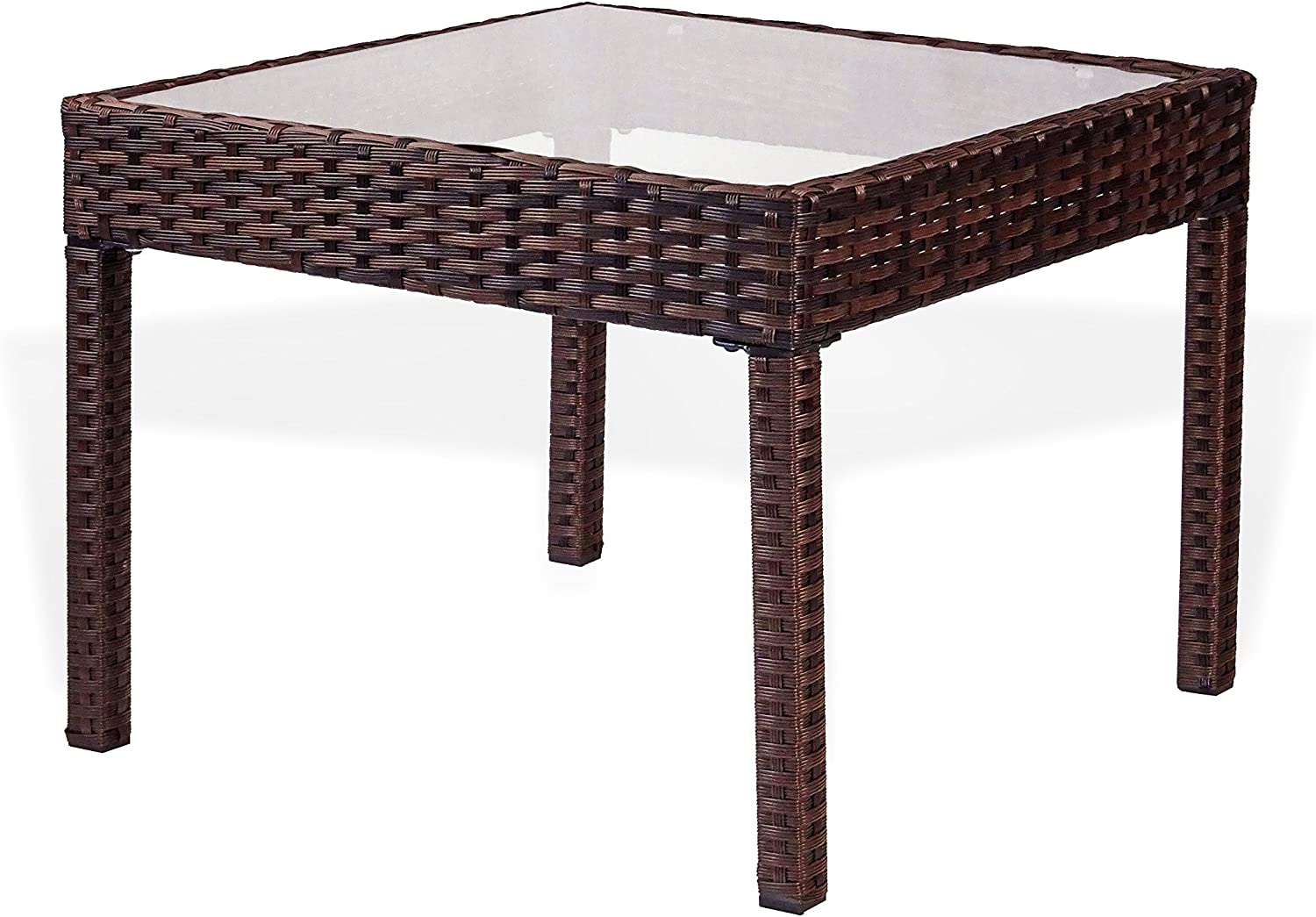 Outdoor Garden Side Table with Glass Top Brown Rattaner Patio Wicker Coffee Table