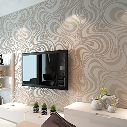 HANMERO Modern Minimalist Abstract Curves Glitter Non Woven 3d Wallpaper  For Bedroom Living Room Tv