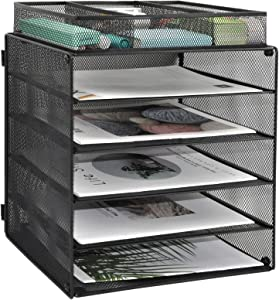 EASEPRES Wire Mesh Desk Organizer Tray, 5-Tier File Paper Letter Tray with 1 Extra File Sorter for Home, Office, or School, Black