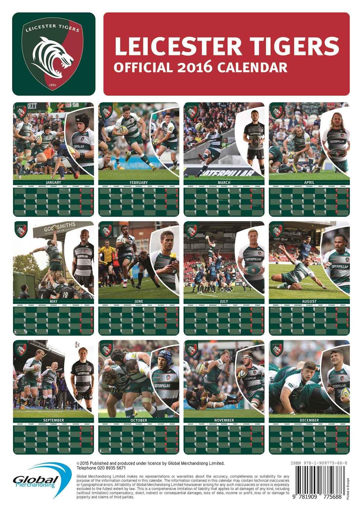 Official 2016 Leicester Tigers Calendar