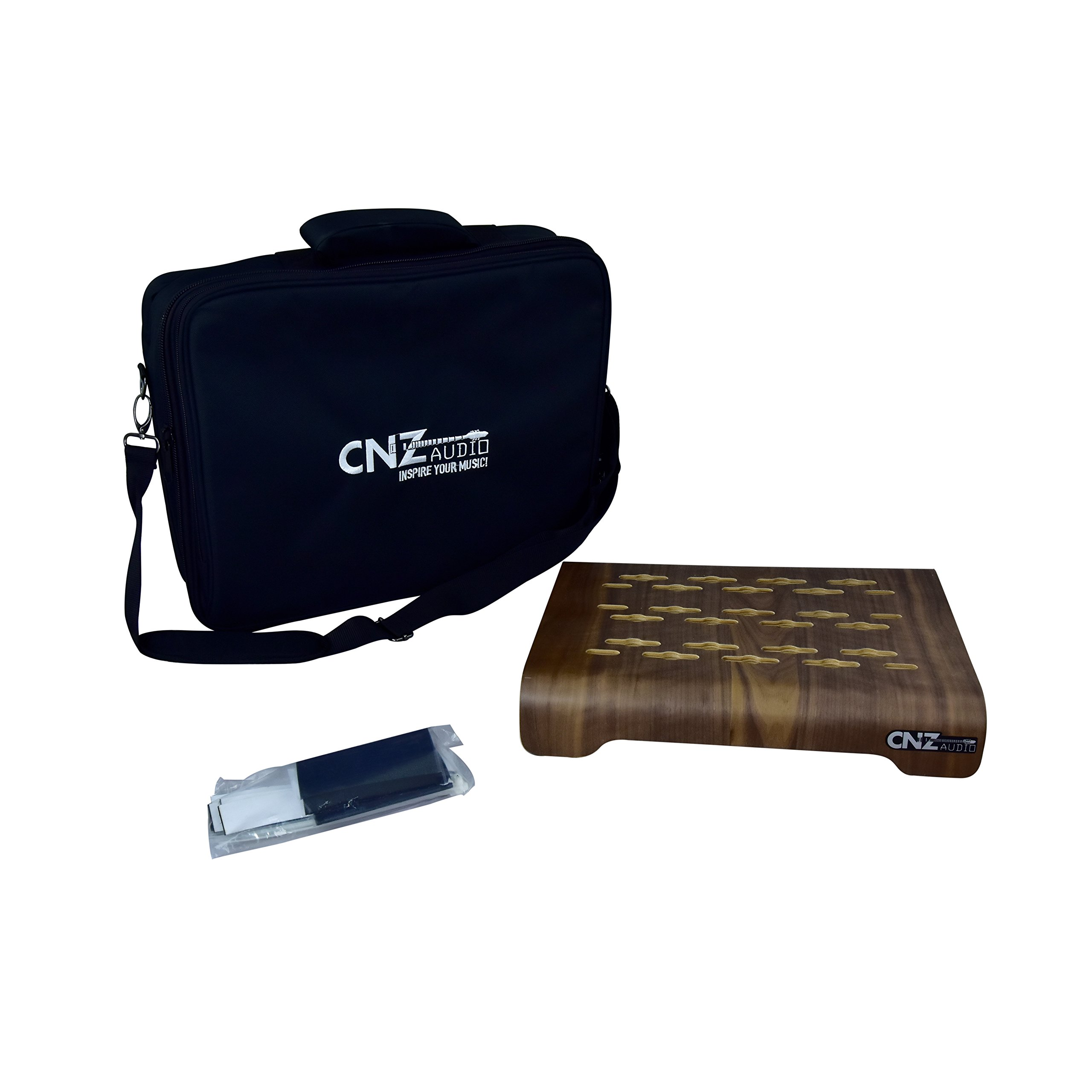 CNZ Audio Wooden Pedalboard Jumbo with Padded Case, Shoulder Strap, Velcro Tape and Zip Ties by CNZ Audio