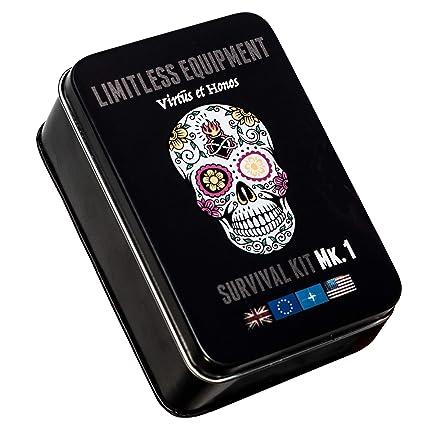 Limitless equipment Mark 1 kit de supervivencia: Mil-Spec, fabricado en Reino Unido, portátil y de bolsillo, kit y caja de supervivencia profesional