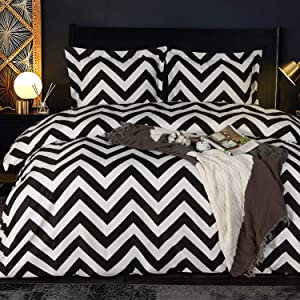 NTBAY Microfiber Twin Duvet Cover Set, 2 Pieces Ultra Soft Chevron Printed Comforter Cover Set with Zipper Closure and Corner Ties for Kids, Black and White