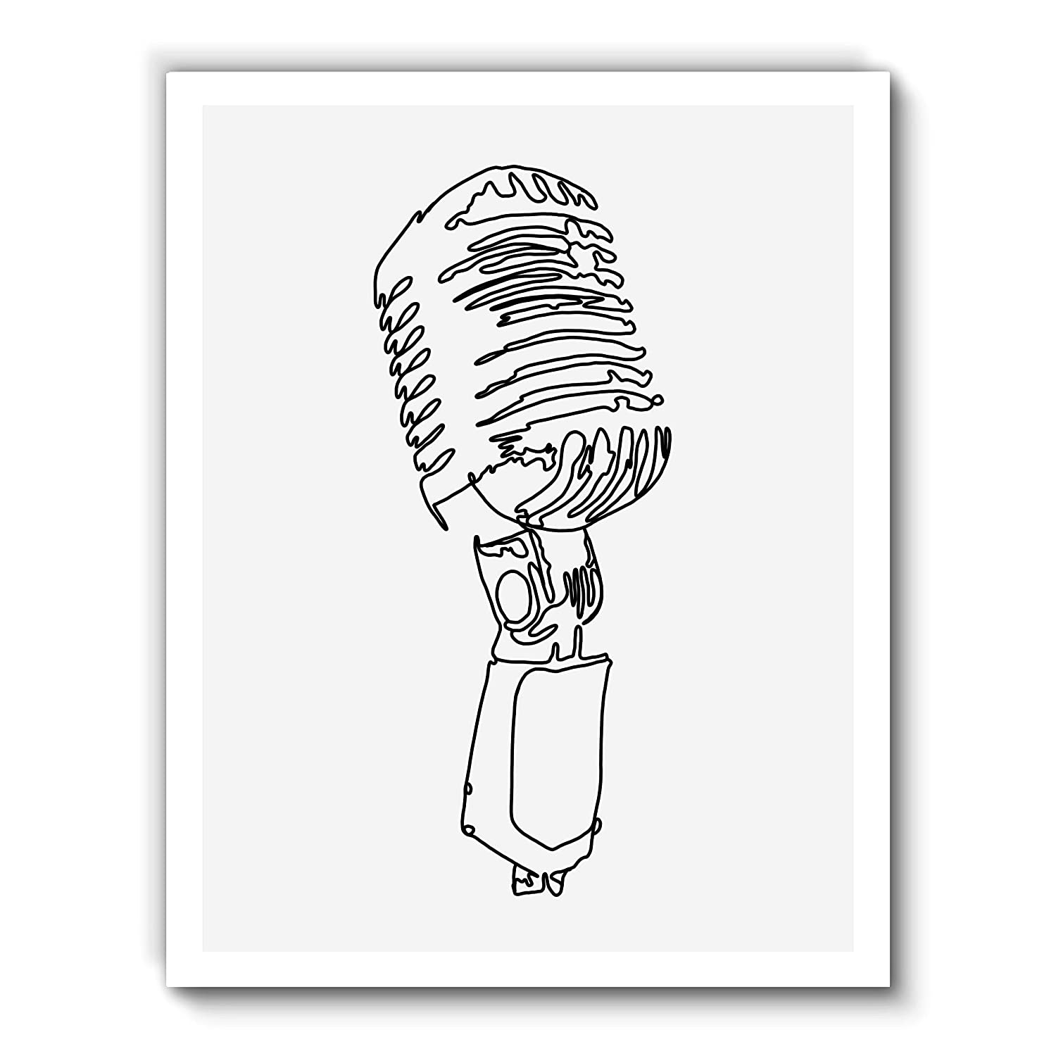 Vintage Microphone, Minimalist Abstract Art, Black Line Drawing Contemporary Wall Art For Bedroom and Home Decor, Modern Boho Art Print Poster, Country Farmhouse Wall Decor 11x14 Inches, Unframed