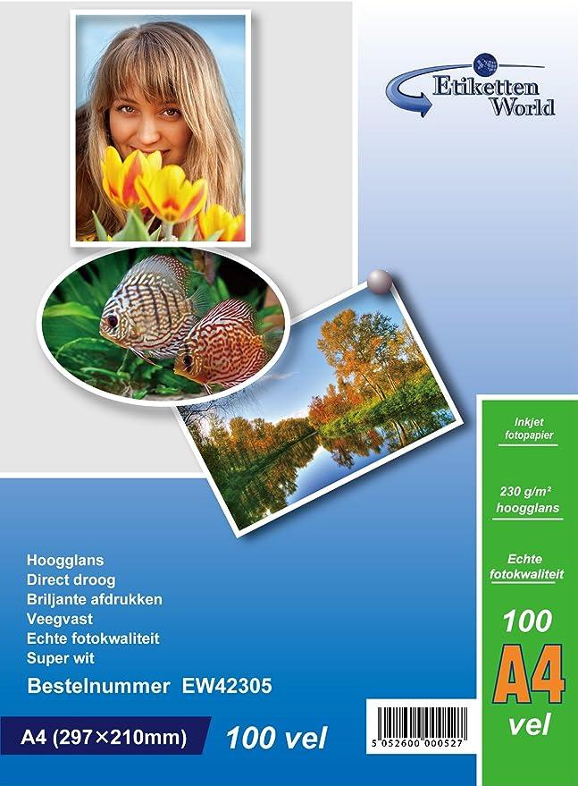 EtikettenWorld 100 hojas papel para foto A4 230 g/qm brillo resistente al agua: Amazon.es: Oficina y papelería