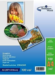 EtikettenWorld 100 hojas papel para foto A4 230 g/qm brillo resistente al agua