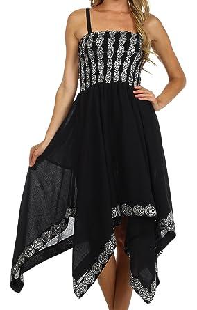 Sakkas 5502 Delia Sequin Handkerchief Hem Dress - Black - One Size