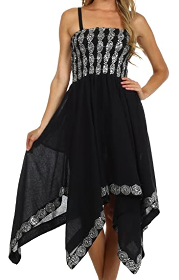 Sakkas 5502 Delia Sequin Handkerchief Hem Dress - Black - One Size