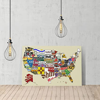 United States Beer Brand Map By States Canvas Print Decorative Art Modern  Wall Décor Artwork Wrapped
