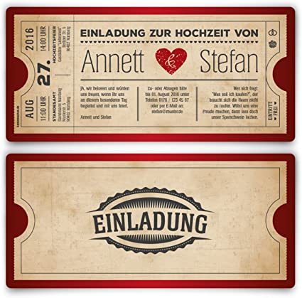 Vintage Ticket Design Invitation Cards For Wedding Heart Retro Invitations German Language Cannot Guarantee In English Pack Of 10 Red Amazon Co Uk Office Products
