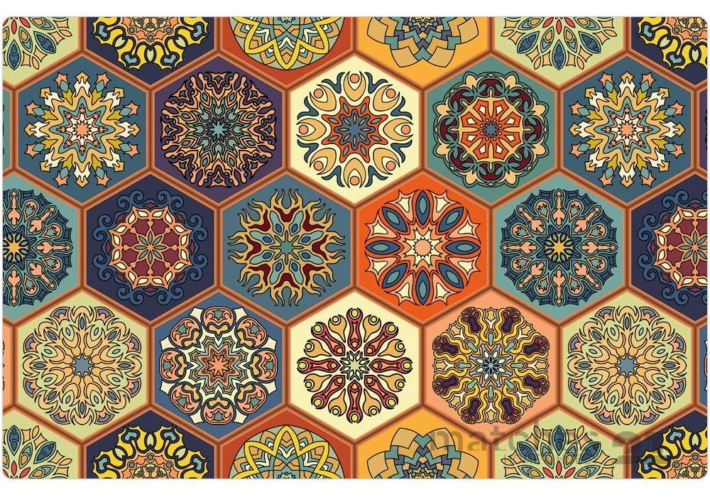 Tischsets Platzsets MOTIV Sonnenblumen auf Holz 8 Stk abwaschbar 43,5x28,5 cm