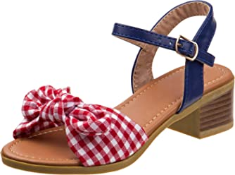 9473bdce77d Kensie Girl Gingham Bow Sandals with Easy Elastic Buckle and Rugged Sole  (Little Kid