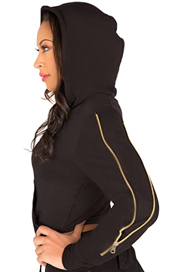 f1db03e5b Poetic Justice Curvy Women's French Terry Gold Zip Cut-Out Wrap Tie Hoodie  at Amazon Women's Clothing store: