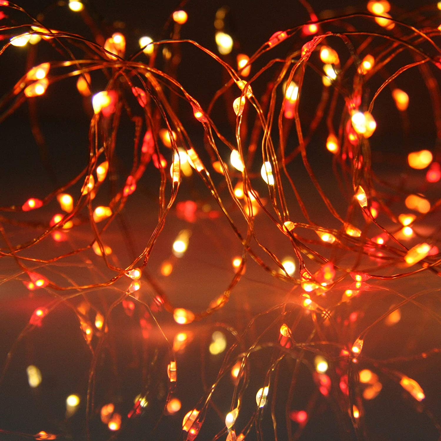 Micro Led Fairy String Lights A Unique Combination Of Red Orange And Yellow Leds On Thin Copper Wire With Multifunction Controller By Qbis Sunset
