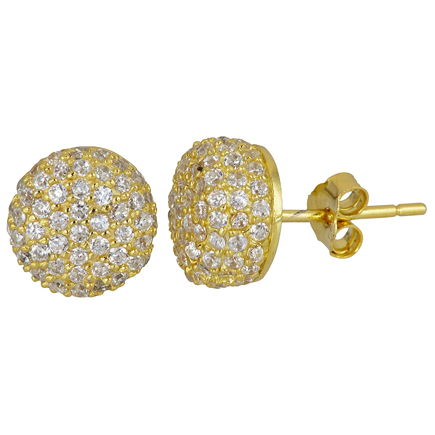 Sterling Silver White Rose Pave Ball Stud Earrings Yellow