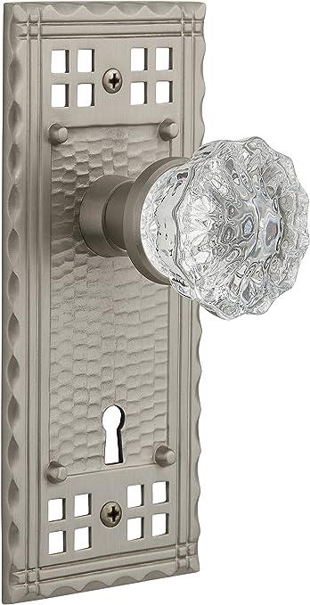 Nostalgic Warehouse Craftsman Plate With Keyhole Crystal Glass Knob Single Dummy Satin Nickel Amazon Com