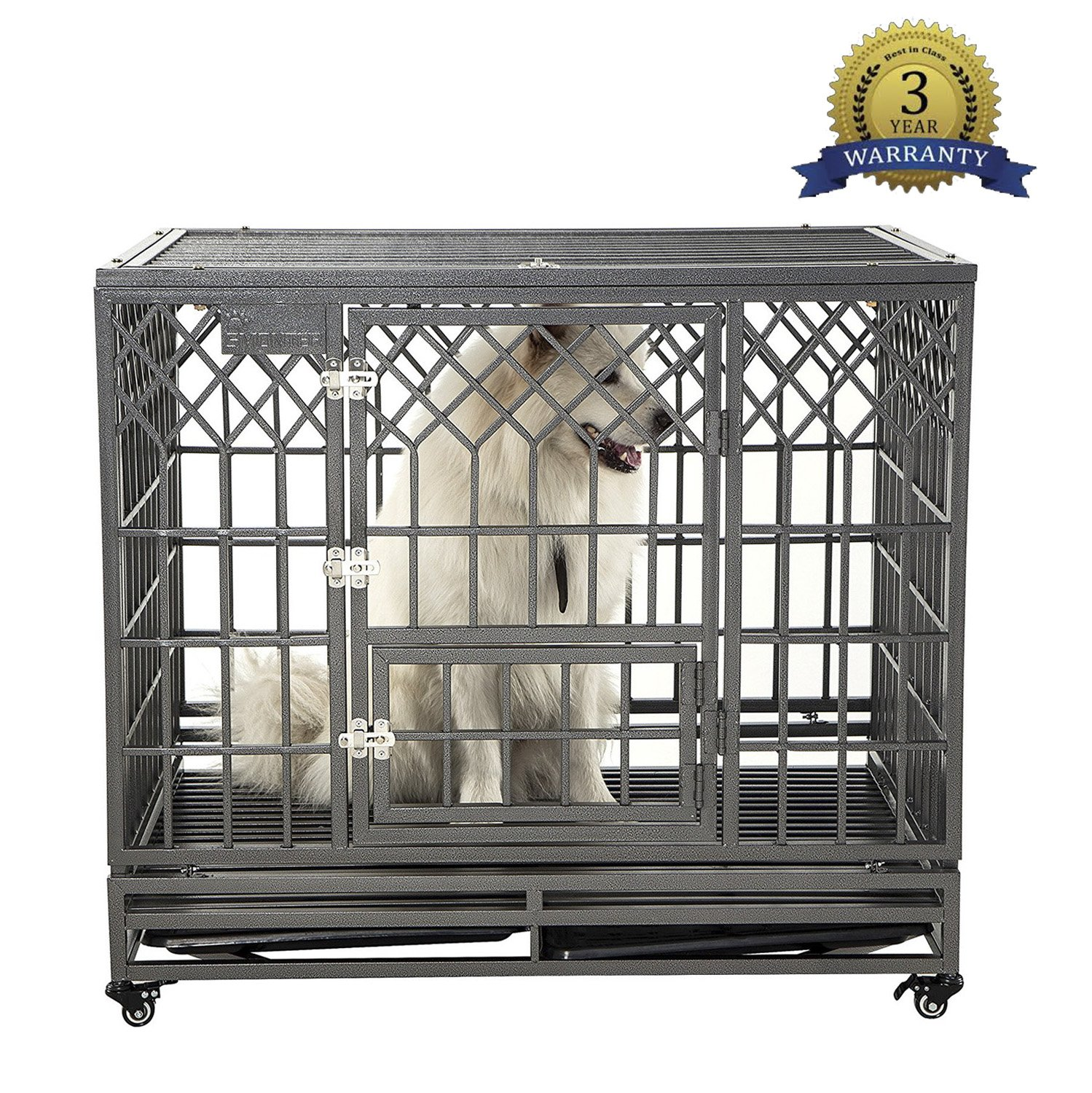 SMONTER Heavy Duty Dog Crate Strong Metal Pet Kennel Playpen