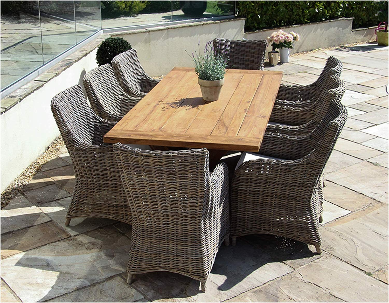 Inspiring Furniture Uk Ltd 2m Reclaimed Teak Cross Leg Outdoor Dining Table With 8 Donna Armchairs Amazon Co Uk Garden Outdoors