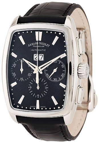 dc3b52364 Armand Nicolet 9638A-NR-P968NR3 - Reloj de pulsera hombre, color negro:  Amazon.es: Relojes