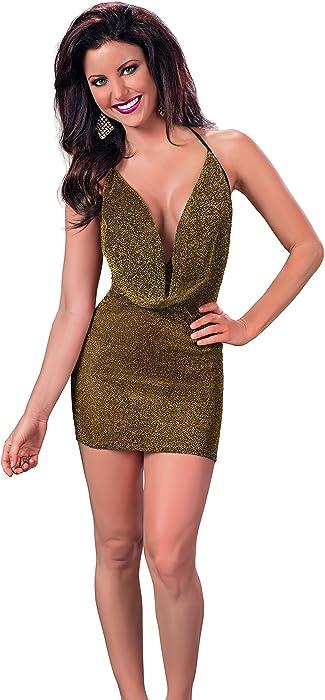 0ddae8aa59e0 Amazon.com: Escante Women's Cowl Neck Halter Tie Dress, Gold, Medium ...