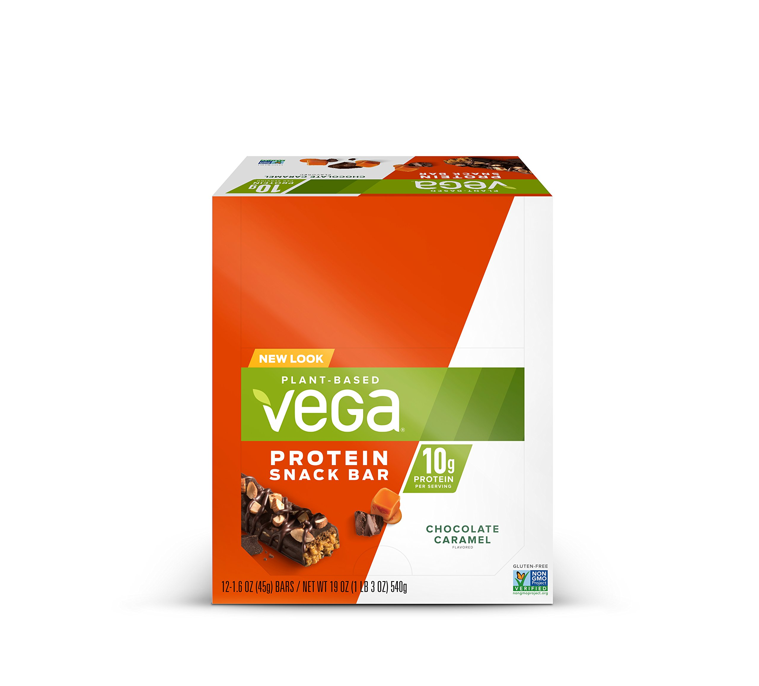 Vega Protein Snack Bar Chocolate Caramel (12 Count) - Plant Based Vegan Protein Bars, Non Dairy, Gluten Free, Non GMO by VEGA