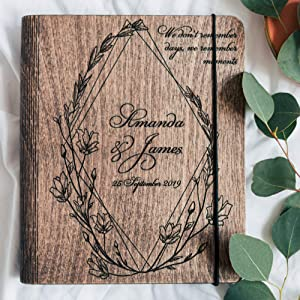Memory Photo Custom Guest Book Wedding Scrapbook Mothers Gift Large Guest Book Best Gift for Couple Wedding Gift Enjoy The Wood