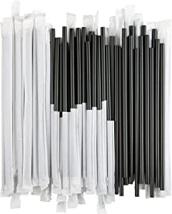 Disposable Plastic Drinking Straws - Individually Paper Wrapped (Black, 500)