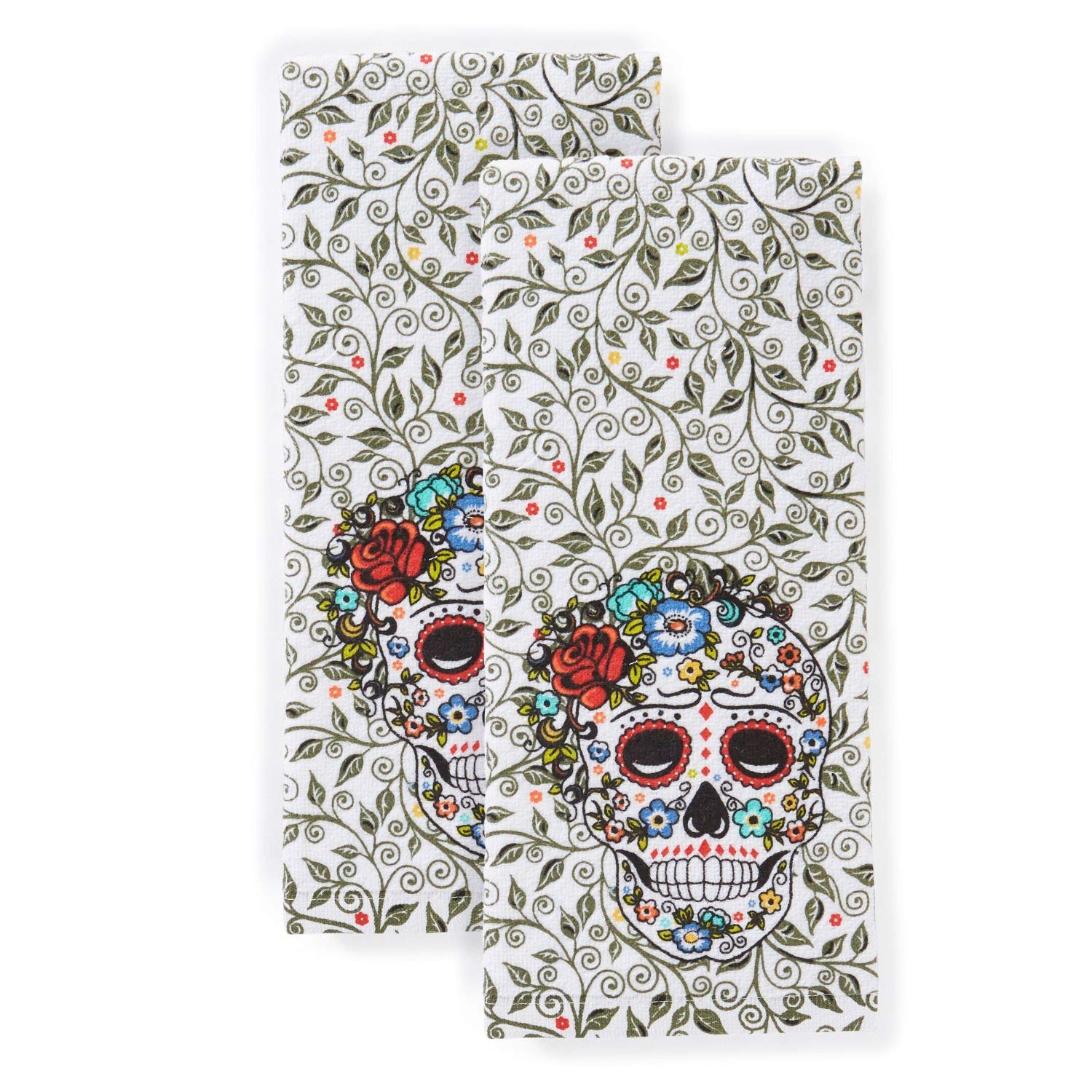 "Fiesta Skull & Vine Kitchen Towel Set, 16""x28"", Multi"