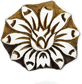Brown Floral Pattern Hand Carved Wooden Block Textile Wood Stamp Printing Blocks