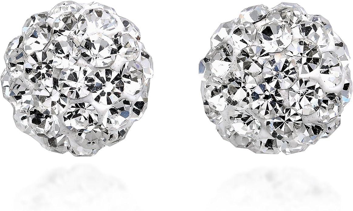 925 Sterling Silver Light Amethyst Crystal ball stud earring 8 mm fredio ball earring