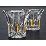 Gilded Leaf Whiskey Glasses Set Of 2. Lead-Free Crystal Glass For Whiskey, Scotch Or Bourbon By Maketh The Man.