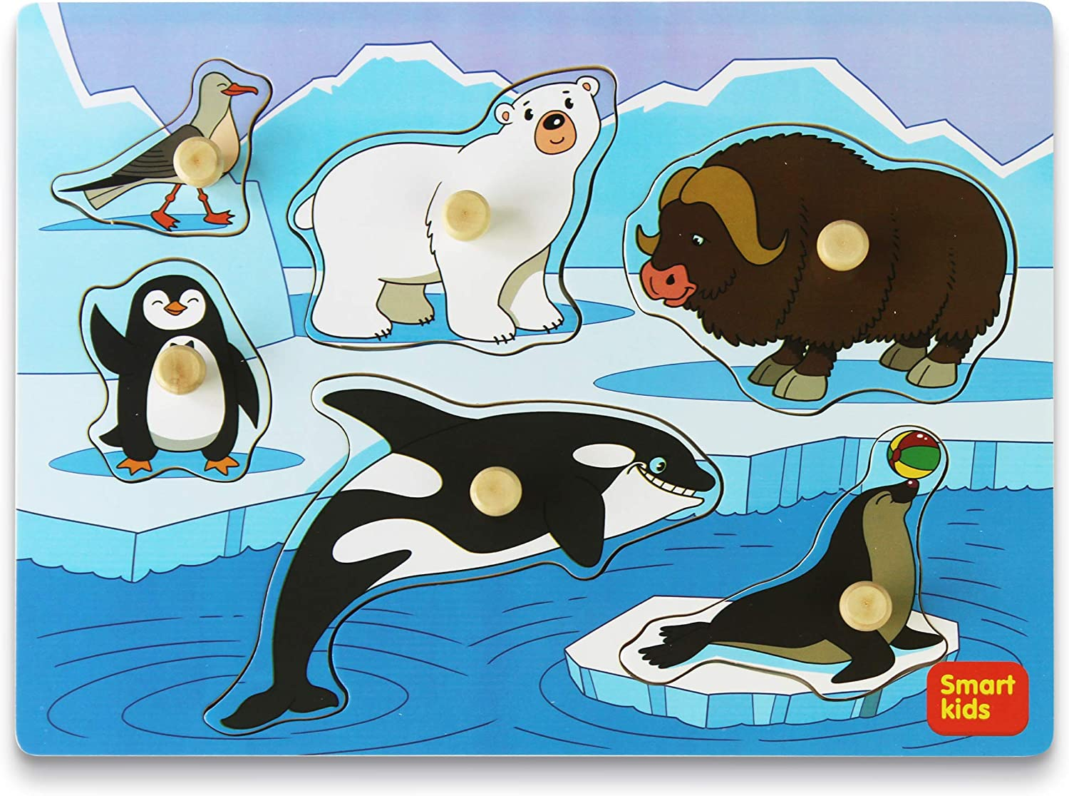 Smart Kids Service Wooden Puzzles for Toddlers Toddler Puzzles Set Arctic Animals Wooden peg Puzzles for Kids Jumbo knob Puzzle Gift Box