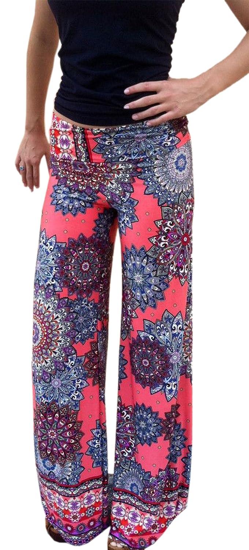 Yipost Women's Wide Leg Palazzo Pants with Foldover Waist