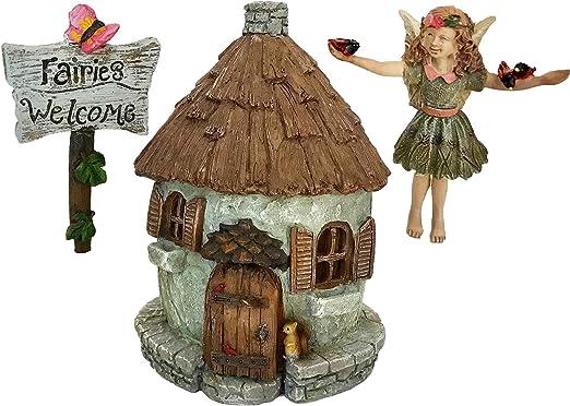 Enchanted de hadas jardín casa con jardín hada Courtney y hadas señal de bienvenida, en miniatura